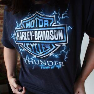HARLEY DAVIDSON BLUE THUNDER BOLT TSHIRT